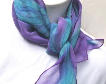 Handpainted silk scarf, chiffon:  turquoise and purple.  Chiffon neck scarf painted in violet and turquoise blue.