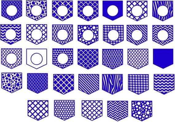 Pocket Shirt Monogram Pocket SVG Frames Patterned pocket