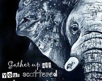 NEW! 11x14 elephant print