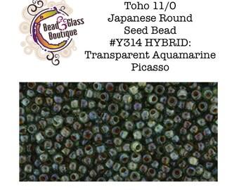 Seed Bead 11/0, Toho, Japanese Round Bead, approximately 24 gram tube, #Y314 HYBRID Transparent Aquamarine Picasso