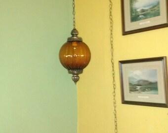 Golden Amber Swag Lamp