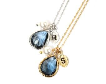 September birthstone necklace, Navy blue necklace, Birthstone jewelry, Personalized necklace, Bridesmaid gift, Navy blue wedding jewelry,