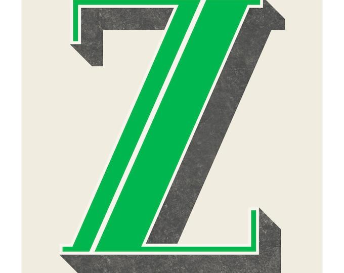 The Letter Z, Original Art Print, Typography, Alphabet, Green, Charcoal Gray