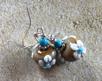 Lampwork Flower Earrings, Lampwork Floral Earrings, Glass Earrings, Statement Earrings