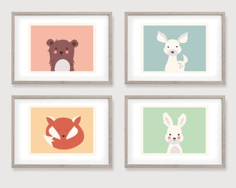 Baby Animals - Nursery Prints - 4 - Fox - Bear - Bunny - Deer