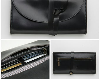 Wrap Wallet in black, Women Wrap Around Wallet With One Zipper Pocket, Six Card Slots, Card Holder, Gift For Her, Black Pouch, Purse