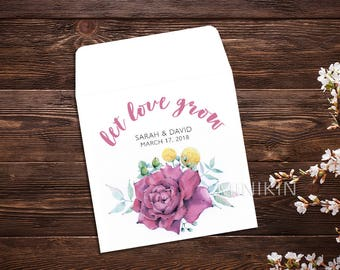 Spring Wedding, Seed Packet, Wedding Favors, Let Love Grow, Flower Seeds, Seed Packet Favor, Wedding Favor, Seed Packet, Seed Favor x 25