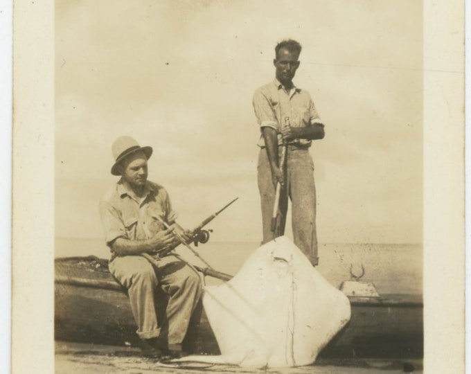 Landing a Ray Fish, 1936: Vintage Snapshot Photo [83660]