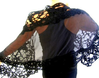 Nuno Felted Scarf, Black Wrap, Silk Chiffon Merino Wool, Felted Lattice Scarf, Genuine Handmade
