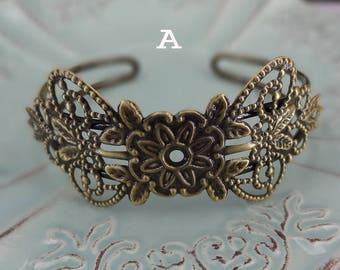 20%off  CB-04-01 2pcs Antique Brass  Plated Brass Filigree Cuff Bracelet, Nickel Free