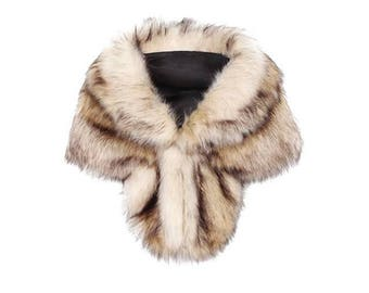 Faux fur ivory coffee Bridal Wrap with brown