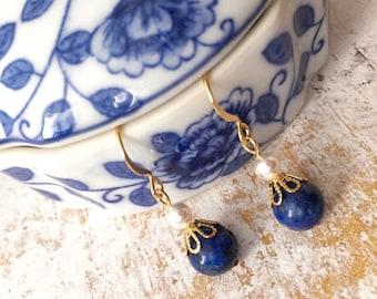 Earrings Lazuli Lapis - Earrings Lapis Lazuli Dangle -Lapis Lazuli Gold Earrings -Lapis Lazuli Gemstone Earrings -Lapis Lazuli Earrings Gift