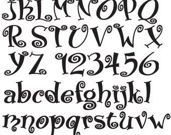 Curly Monograms - Ceramic Decals- Enamel Decal - Fusible Decal - Glass Fusing Decal ~ Waterslide Decal - 77633