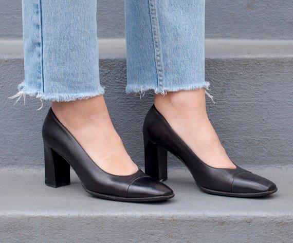 90s spectator toe vintage square 7 37 high 5 1990s black black pumps bally black pump black minimal 5 shoes heels leather 55PrR7q