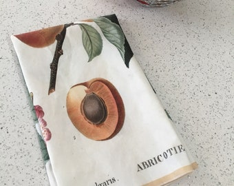 Vintage Apricot Botanical Print Tea Towel
