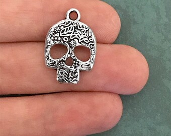 5 or 10 Silver Sugar Skull Day of the Dead Charms Dia de los Muertos Charm 24mm x 16mm