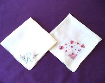 2 Vintage White Hankies Embroidered Hankies. Monogram R Hankerchiefs. Wedding Hankies. Bridal Party Hankies. Embroidered Initial R Hankies