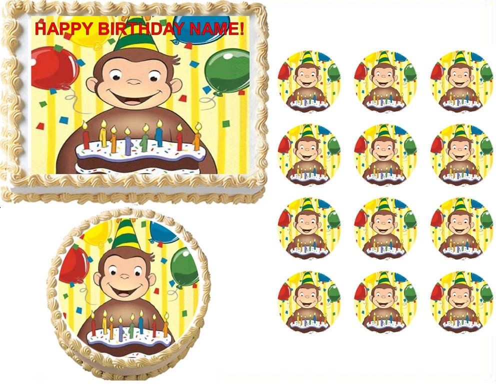 curious george edible cake topper image curious george
