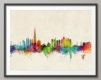 Dubai Skyline, Dubai UAE Cityscape Art Print (1000)