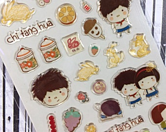 Kawaii sticker sheet - kawaii epoxy sticker sheet