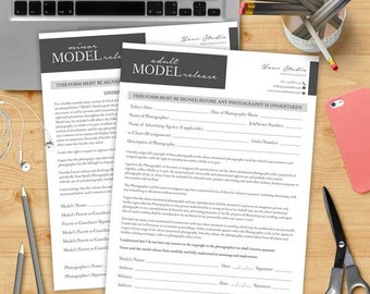 Adult&Minor Model Release Form - MsWord and Photoshop Template for Photographers - INSTANT DOWNLOAD - MR001