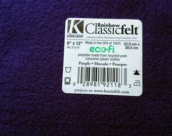 Felt - Purple - Kunin Eco Rainbow Classic Felt Made from Recycled Plastic Bottles Eco-Fi Eco Friendly Recycled Polyester