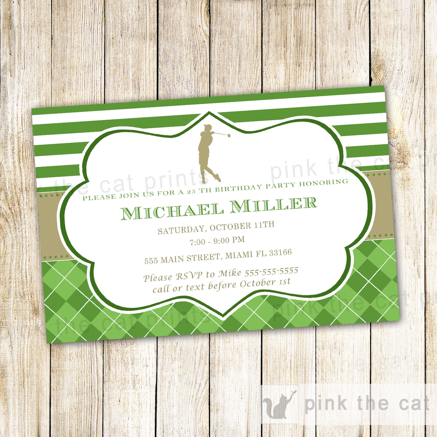 Golf Invitation Adult Birthday Party Gold Green Golf Theme