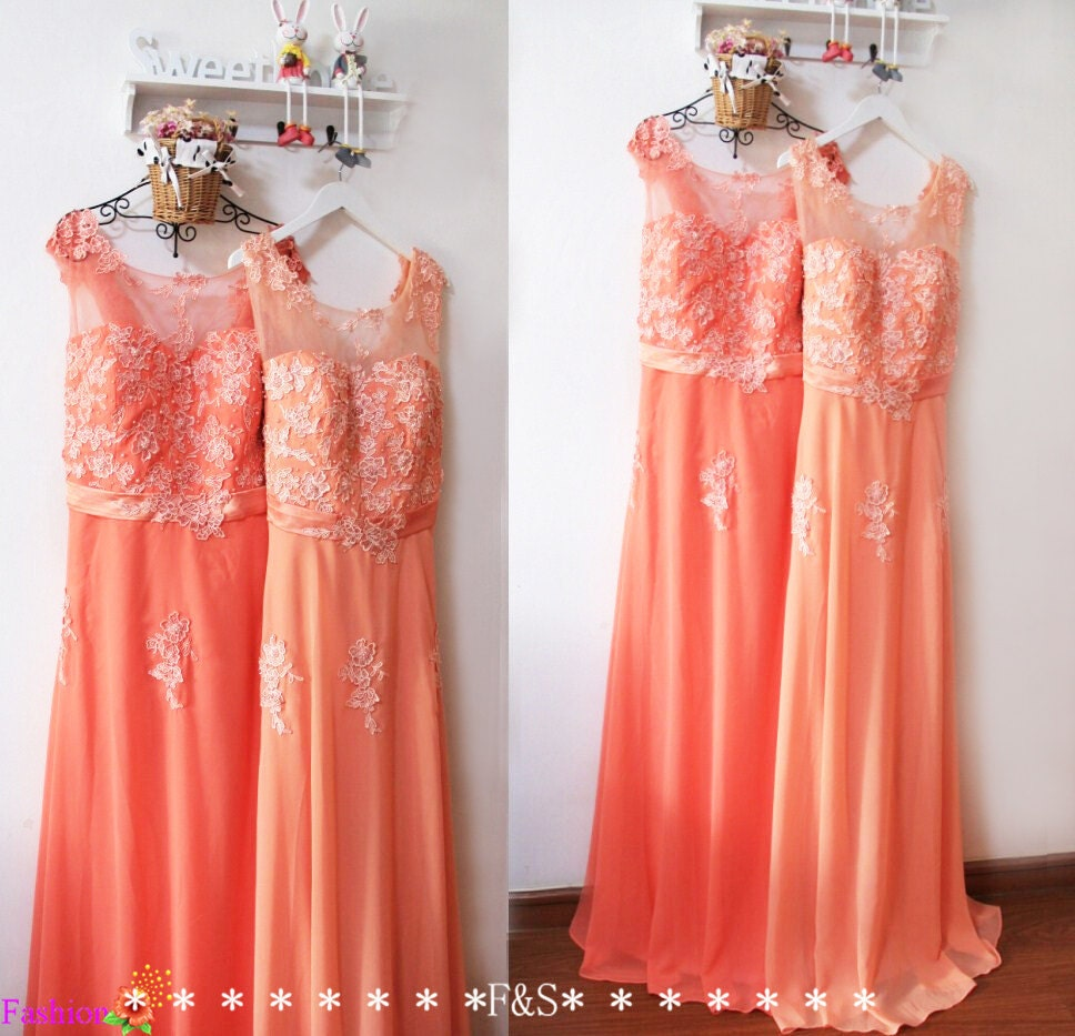 Peach colored lace dresses