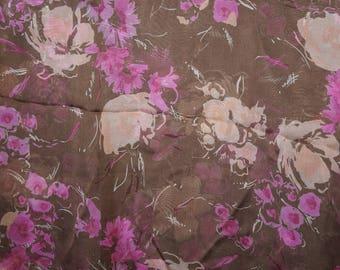 Silk Chiffon Fabric Brown  Floral   Semi Sheer Apparel BY the Yard