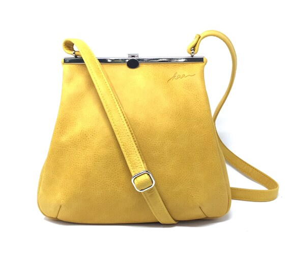 Everyday Bag, Her Leather Bag, Sling Leather Bag, Minimalist Bag Women, Leather Carryall | Yellow Leather Handbag with Retro Clip Closure