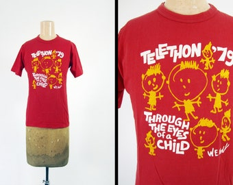 Vintage 70s Telethon T-shirt 1979 Red Cotton Wolf Sportswear Made in USA - Small / Medium