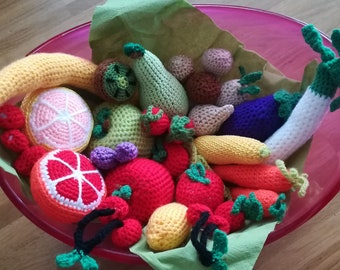 Lots of fruit & vegetables crocheted even-32 parts