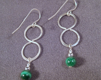 Sterling Silver Malachite Hammered Infinity Earrings
