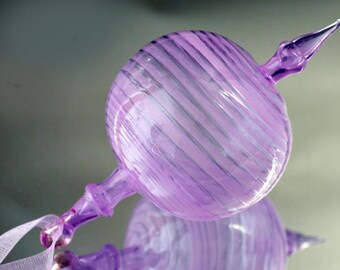 Hand Blown Glass Ornament, Transparent Purple & Pink Ornament, Striped  Ornament, Christmas Ornament, Handmade Ornament