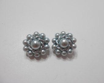 Vintage Light Blue Faux Pearl Clip Earrings (0307) Japan
