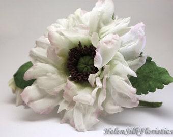 White Poppy flower accessory, flower brooch, silk Poppy, wedding accessory, boutonniere for groom,