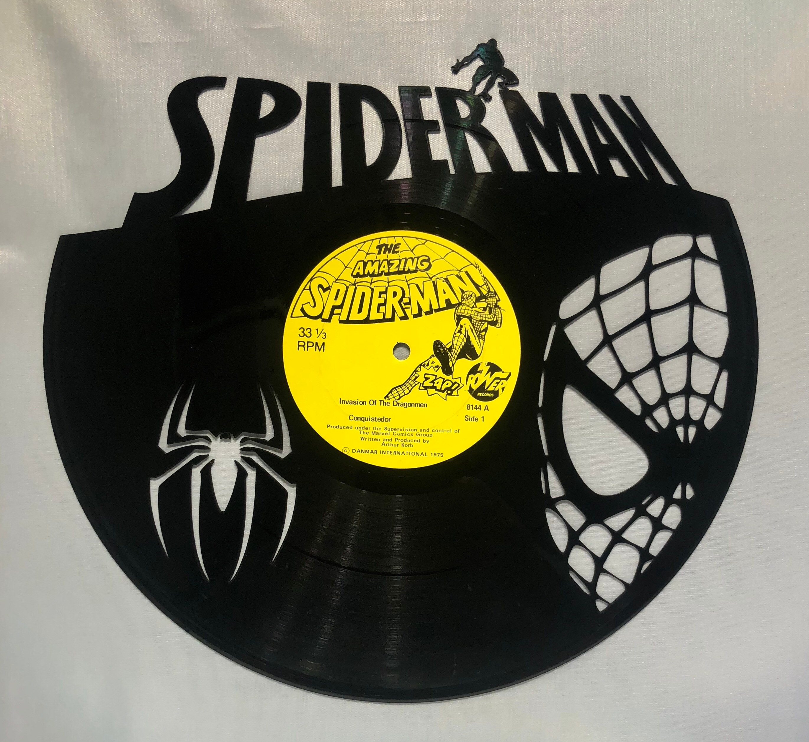 Recycled Vinyl Record Spiderman Wall Art