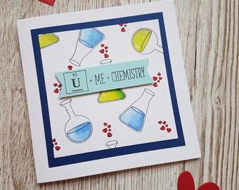 Handmade chemistry Valentines card /U + me = chemistry card /Geek Valentines / Science Valentines/Cute Valentine /Valentine pun/ quirky card