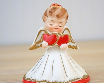 Vintage Lefton Angel Holding Double Hearts 2774 Made in Japan