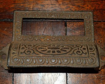 Antique Ornate Apothecary Cabinet Drawer Bin Pull Label Handle Cast Iron Hardware Ornate DIY Furniture Repurpose Supplies