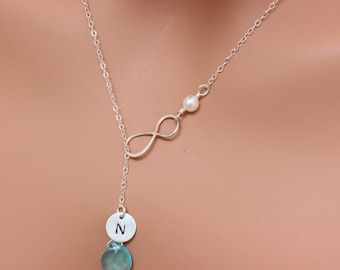 Sterling Silver Infinity Initial Birthstone Necklace - Infinity Larite Necklace - Bridesmaid Gift with Thanks You Card - Aquamarine Blue.
