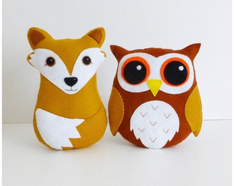 Set of 2 pdf Patterns, Chester Fox and Hoot the Owl