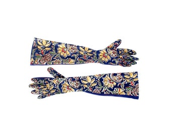 Vintage 40s Gloves - 40s Floral Gloves - Elbow Length Gloves - 40s Rayon Gloves - 40s Evening Gloves - 40s Elbow Length Gloves - Art Deco