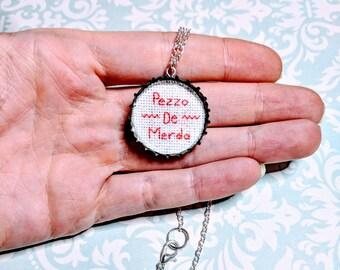 Pezzo de Merda Cross Stitch Pendant Necklace