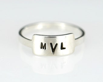 Sterling Silver Small Rectangle Ring, Initial Rings, Name Rings, Family Rings, Monogram Rings