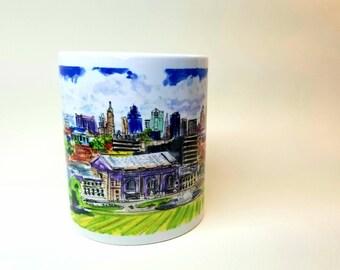 Mug of Kansas City skyline. Printed from my Original sketch.