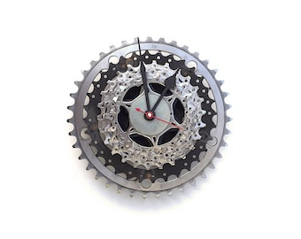 Bike Clock, Gear Clock, Recycled, Father's Day, Mother's Day, Bike Parts, Bike Gift, Industrial, Steampunk, Dad, Cyclist, Bike Art, Biker