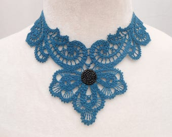 Teal lace necklace