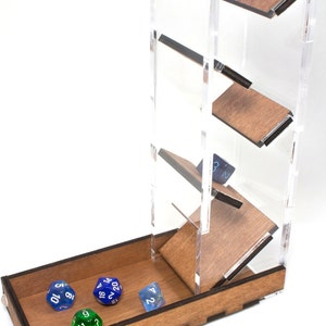 Dice Tower~ Clear Acrylic & Wood Great for Gamers! Now in 4 Colors