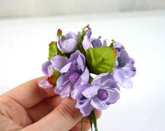 6 Purple Craft Flowers Silk Flowers Artificial Flowers Fake Flowers Decorative Flowers Scrapbooking Wreath Flowers Bouquet Flowers